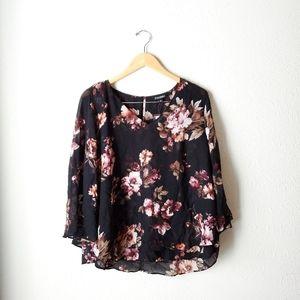 NWT Roz & Ali Rose Floral Blouse SZ XL